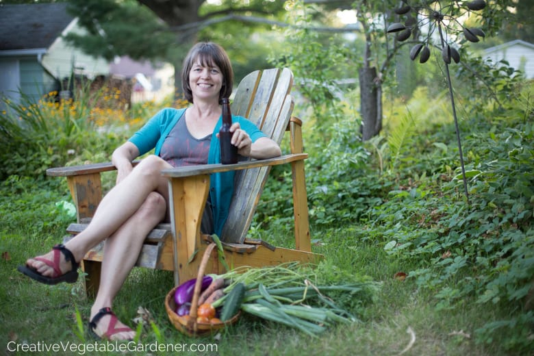 woman sitting in garden relaxing