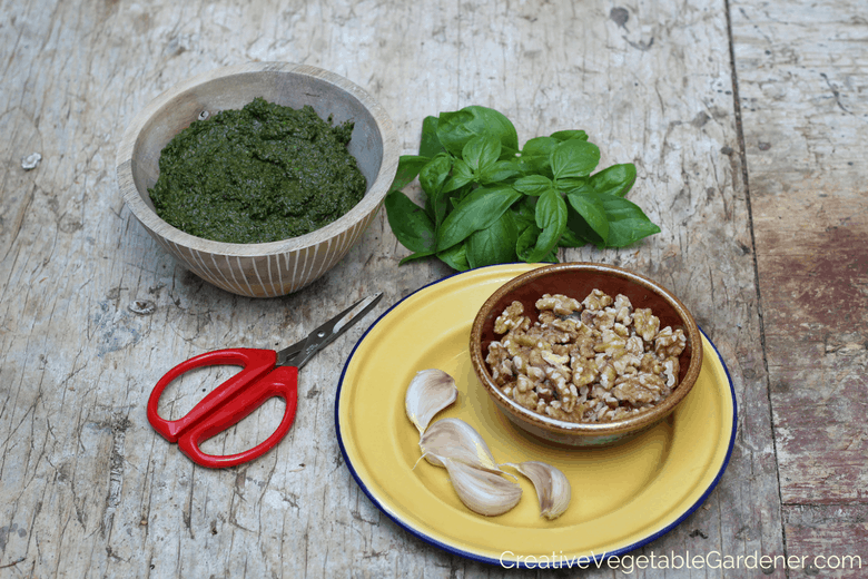 easy preserving ideas, making basil pesto