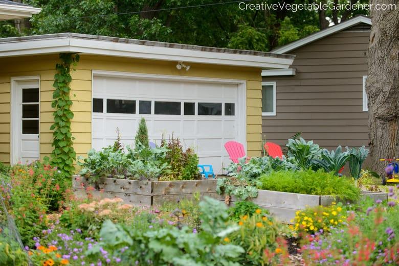 colorful front yard vegetable garden