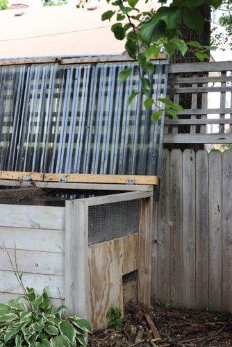 Compost bin urban vegetable garden