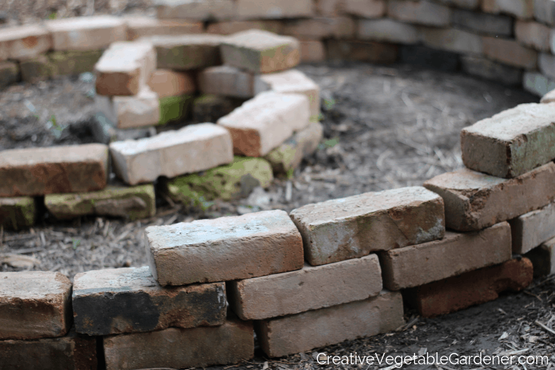 building an herb spiral with bricks