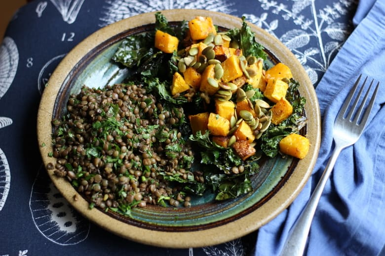 butternut squash and kale salad on a plate