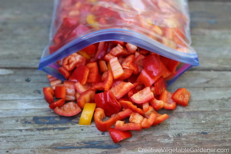 chopped red peppers ready for freezing