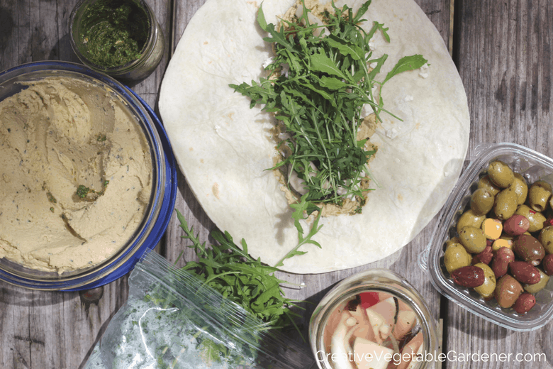 veggie humus wrap ingredients for healthy camping meals