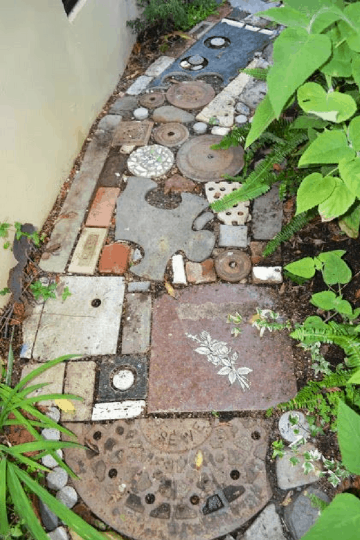 photos of vegetable gardens with mixed media path