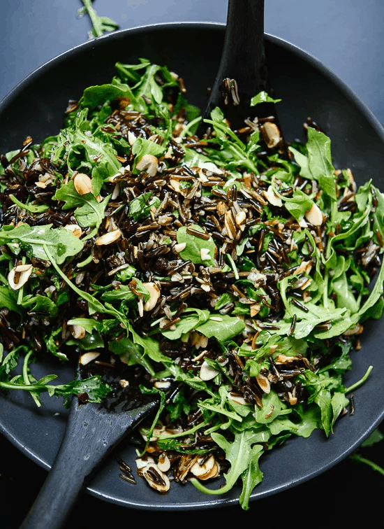 wild rice arugula salad as a healthy vegetable side