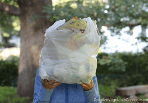 woman with bag of plastic for plastic free living