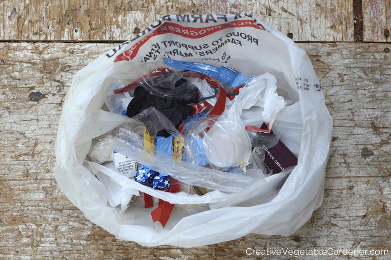 bag of plastic trash for plastic free july
