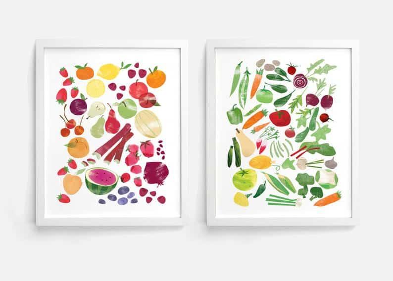 vegetable garden prints for gifts