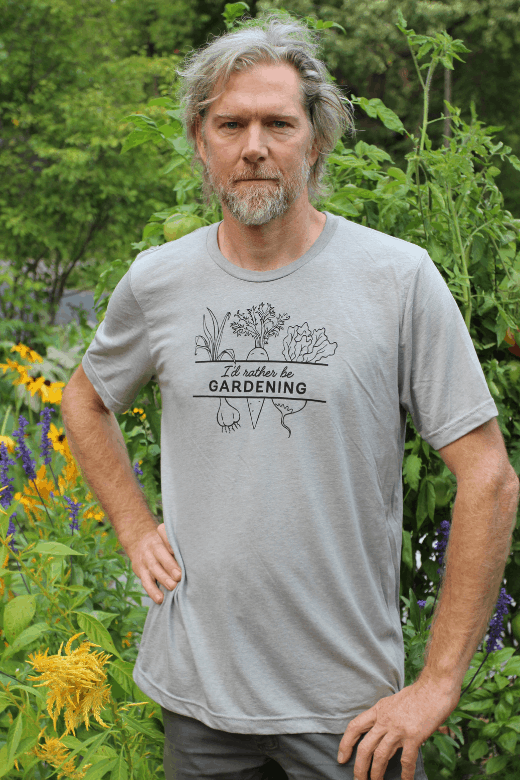 Man in gardening shirt