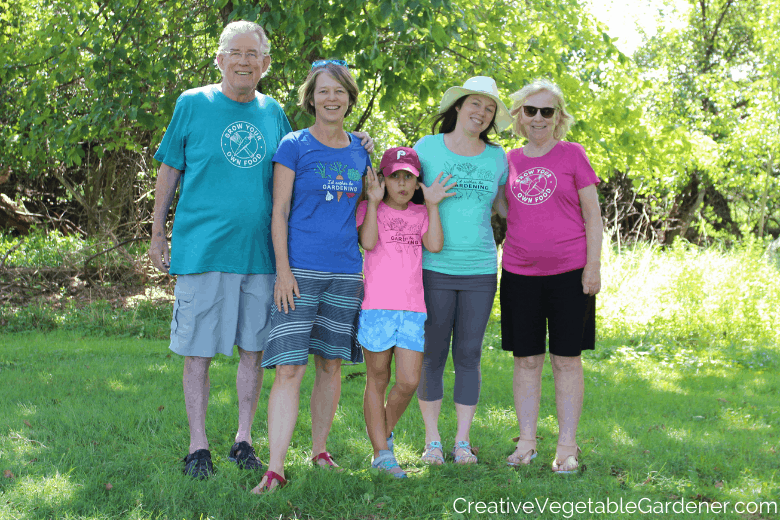 family with gardening shirts
