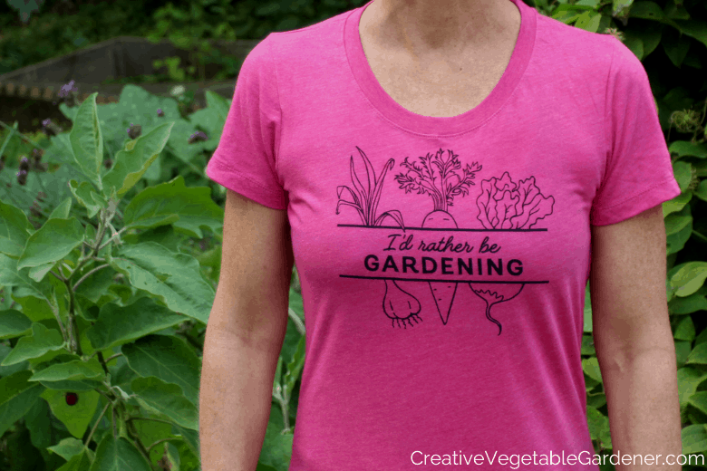 garden t-shirt on woman