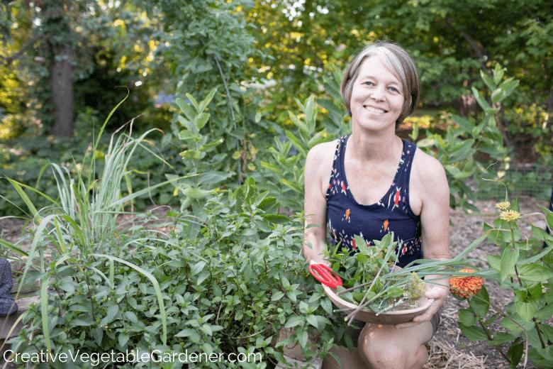 woman harvesting herbs from garden